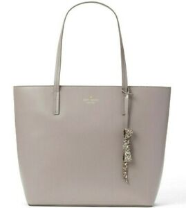 Kate Spade Karla Cityscape Gray Smooth Leather Tote Seton NWT WKRU5670 $299 FS