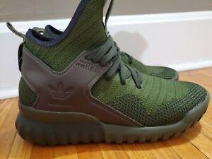 Mens Sneakers Adidas Tubular X Primeknit PK Size 5 Green Cargo High Top S76713