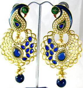 INDIAN EARRING GOLD BRASS ETHNIC WEAR PEACOCK LONG EARRINGS WEDDING BRIDAL