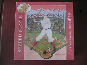 BATTER UP! Joseph Holodook 750 piece Bits and Pieces SHAPED puzzle BASEBALL NEW