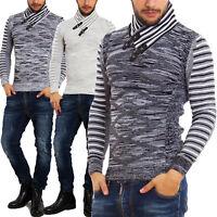 Maglione uomo pullover collo alto TOOCOOL righe caldo invernale fibbie B124