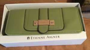 New ETIENNE AIGNER Spring Green Cowhide Leather Wallet Checkbook ID Cards Money