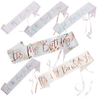 Its My Birthday Sash Badge Party Accessories Rose Gold Sash 18th/21st/30th