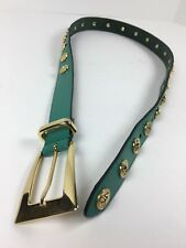 THE LIMITED Italy Women's Size S Green Leather Studded Belt Gold Lion Heads