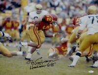 O. J. Simpson Signed USC Trojans 16x20 Running Photo w/ Heisman- JSA-W Auth