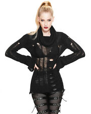 Devil Fashion Womens Shredded Knit Sweater Top Black Goth Punk Distressed Grunge