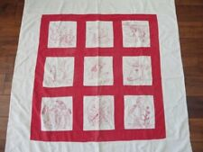 Wonderful Old RED & WHITE QUILT Child's HAND STITCHED Embroidery Farm Animals