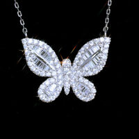 925 Silver Butterfly Pendant Necklace Gorgeous White Sapphire Women Jewlery Gift