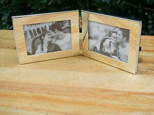 Vintage Deco Style Silver Plate Rectangular Folding Double Photo Frame