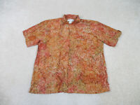 Orvis Button Up Shirt Adult Extra Large Orange Green Camp Casual Rayon Mens