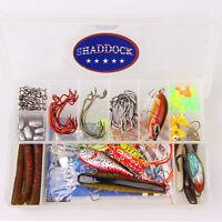 96Pcs Fishing Accessories Bass Lures Kit Crankbaits Jig Hooks Swivels Sinker Set