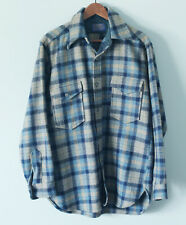 Vintage Wool Pendleton Blue Gray Plaid Barn Outdoor Warm Board Shirt Buttons L