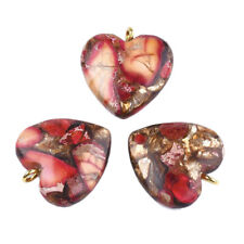 10× Assembled Bronzite Regalite Imperial Sea Sediment Jasper Pendant Heart Gold