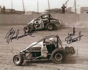 Jack Hewitt and Jac Haudenschild autographed USAC Sprint Car 8x10 photo - Eldora
