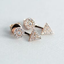 14k Rose Gold Plated 925 Sterling Silver Spear Ear Jackets Earrings With CZ
