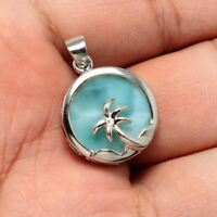 Solid 925 Sterling Silver Natural Dominican Larimar Gemstones Necklace Pendant
