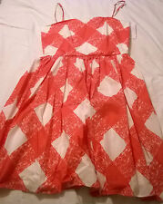 BNWT Boden dress size 12 100% cotton white pink removable straps summer
