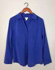 Chico's Button Down Shirt Blue Long Sleeve Soft Stretchy Work Career Sz 1 Medium