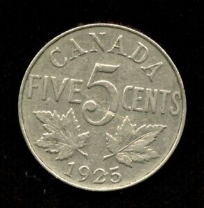 1925 Canada Five Cents - Key Date Nickel