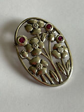 Vintage 925 Silver & Ruby Openwork Floral Pin Brooch Ladies
