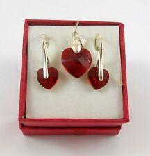 Silber  Schmuck Set Ohrringe Kettte & Original Swarovski Kristallen Hook Siam