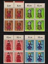 OPC 1968 Germany Set Sc#B438-441 Mi#571-4 Numeral Margins Blocks MNH VF
