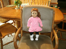 American Girl doll clothes pink long tee w ruffle/leggings/silver boots