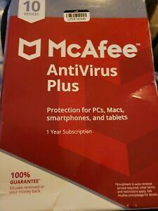 McAfee MAV17ETG0RAA 2017 AntiVirus 10 Device (PC) Factory Sealed Free Shipping!