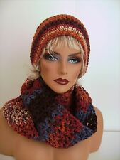 BROWN BLUE HAND CROCHET HAT AND INFINITY SCARF SET BEANIE BERET TAM SKI CAP