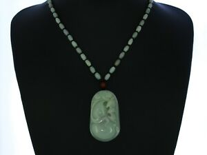 """2.2""""China Certified Grade A Nature Hisui Jadeite Jade Blessing Bat Necklace"""
