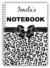 PERSONALISED GIFT NOTEBOOK A5/ LEOPARD PRINT BOOK /50 LINED PAGES GIFT NOTES