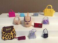 BARBIE DOLL PURSE LOT HANDBAG BAG CLUTCH ACCESSORIES Barbie and Same Size Doll D