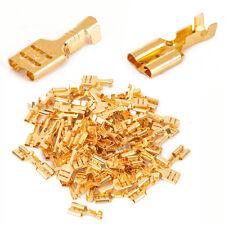 100pcs 6.3mm Gold Brass Car Speaker Female Spade Terminal Wire Crimp Connector