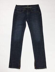 Gaudi jeans donna usato w26 tg 40 slim skinny boyfriend zip gamba blu T164