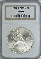 1992-D OLYMPICS BASEBALL SILVER COMMEMORATIVE S$1 NGC MS69