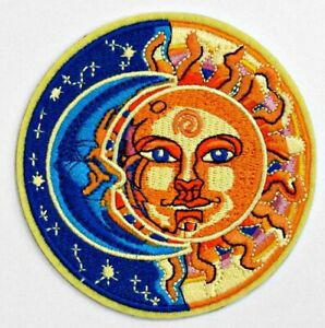 ⫸ CELESTIAL SUN MOON Face Patch Iron-on Cosmic Hippie Psychedelic Boho – NEW D20