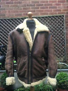 Vintage leather & sheepskin Flying Aviator Bomber casual jacket men's Large