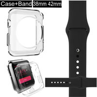 Replace Silicone Wrist Bracelet Band Strap + TPU case For Apple Watch 38/42mm BK