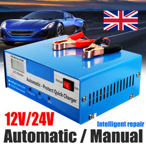 Car Battery Charger 10A 12V/24V Smart Automatic Intelligent Pulse Repair AGM GEL