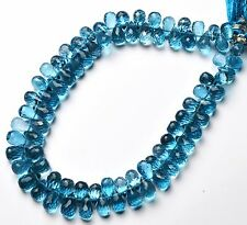 NATURAL SWISS BLUE TOPAZ MICRO FACET 5x8MM APPROX. DROP SHAPE BRIOLETTES 133CTS.