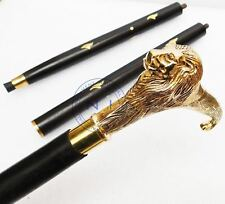 Solid Brass Lion head Handle Vintage Designer Wooden Walking Stick Cane Antique