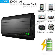 Vinsic 20000mAh Portable Dual USB Power Bank Pack Battery Charger for Cell Phone