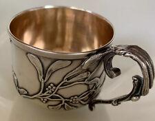 MISTLETOE Victorian 950 Sterling Silver Teacup Demitasse Baby Cup NO MONO Nouvea