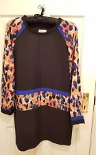 Jovonna. Black tunic dress with coloured detail. Size 14.