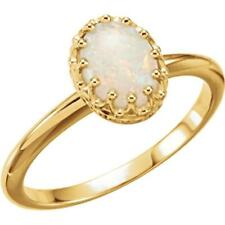 14k Yellow Gold Opal Crown Ring Size 7