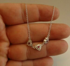 3 RED HEART NECKLACE PENDANT W/ LAB DIAMONDS & RUBY GEMS/ 925 STERLING SILVER