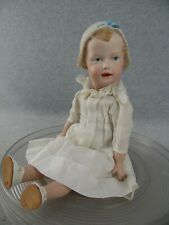 "14"" antique reproduction bisque head German Gebruder Heubach Molded Bonnet Doll"