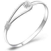 Fashion Women Lady Jewelry Silver Plated Bracelet Charm Bangle Cuff Jewelry Gift