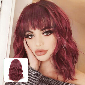 Ladies Red Short Curly Wigs Women Natural Bob With Bangs Wavy Hair Cosplay Wig
