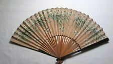New listing Antique Paper & Wood Personal Folding Hand Fan